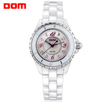 hot sale fashion new 2014 women dress watches Dom white ceramic rhinestone waterproof diving clock  ladies casual quartz watch