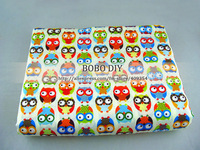 FREE SHIPPING ,cute moe colorful owl printed 100%cotton fabric  for DIY, home textile,size 160cm*100cm,B20131293,BOBODIY