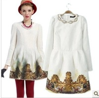 201312 European Women's Fashion  Elegant white Color block Scenery Print Bead deco one-piece dress  dresses streetwear
