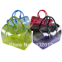 2014 Fashion Gradient Color Padlock Boston Bags Modern Woman Rubber Satchel Bag Party Totes PT1208