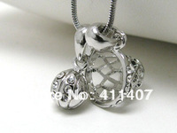 Free Shipping fashion 5pcs a lot sport rhodium plated basketball and basketry with crystal pendant necklaces