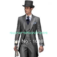 New Design Morning style Peak Lapel Groom Tuxedos Groomsmen Men's Wedding Suits