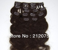 """12""""-26""""inches 7pieces/set  Brazilian Virgin hair  Body wave Clip in  Extensions  3sets/lot Free shipping"""