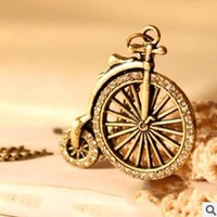 New 2013Korean Trinkets Beautifully Small Diamond Vintage Bike Necklace&Pendants Items Jewelry Sweater Chain wholesale 10Pcs/Lot