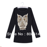 Promotion !Women Shirt Long Sleeve Bottoming shirt blouse Tops  Owl Printing