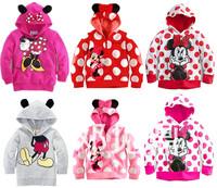 Free Shipping (5pcs/lot) Brand New Autumn/Spring girls Minnie Mouse Boys Mickey Mouse Hoodies children hoodies kids sweatshirts