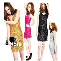free shipping fashion  womens Sequins dress