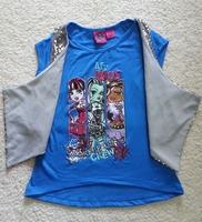 Free shipping girl girls monster girl short sleeve TOP T-shirt cotton shirts 2 piece design 2 colors