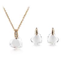 MT Limited Innovative Jewelry Style Alloy Necklace Heart Zircon Set