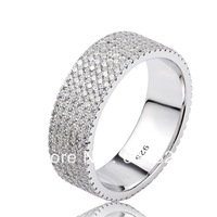 Wholesale - Free P&P 925 Sterling Silver Cubic Zirconia 6-row Engagement-Style Eternity Band Ring GNJ0474
