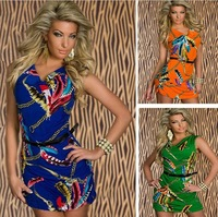Free shipping New arrvial Women's  Fashion Vintage Printed Sleeveless Clubwear sexy party dress Casual Dress with Belt N123