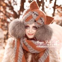 Magic large dolls fox devil horn cat ears hair color block stripe knitted hat