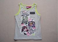 free shipping monster high girl sleeveless top t shirt shirts tops cotton