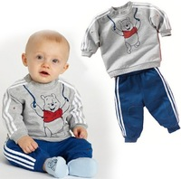 2013 Autumn Boys Set Baby Children Cartoon Bear Long Sleeve Tops And Long Pant Sports Set Kids Clothes 5 SET
