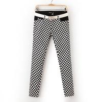 Free Shipping 2013 European style Black and White Plaid pants Hip Hop Fitness Pants