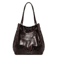 Fashion Korean Big Famous Brand Style Womens Snake Leather Tote Handbag Shoulder Hobo Shoppers Shopping Bag Purse Wholesale
