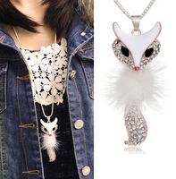 Attractiving Sexy Fox With Soft Feather Pendants Necklace Long Alloy Sweat Chains Necklace Beautiful Clothing Accessories YN002