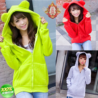 Autumn and winter 2013 women's ear fleece sweatshirt hooded cardigan casual outerwear