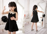 Retail new design 2014 summer cotton lace girls dress, princess children dress Splice metal Sequined collar Free Shipping