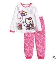 brand Christmas baby pijamas kids pajama sets hello kitty dorachildren's toddler girls baby clothing  set 2014new year