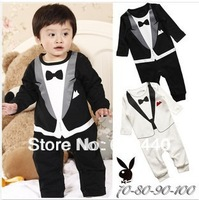 On sale!Kids boys infant rompers/overalls boys gentleman bow tie plaid long-sleeved romper babies clothing 2colors in stock