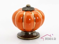 Cartoon Pumpkin Handle Cabinet Cupboard Drawer Ceramic Knob Pulls Orange Solid MBS007-4