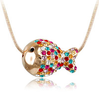 Chain multicolour crystal necklace quality jewelry dollarfish pendant fashion all-match new arrival accessories