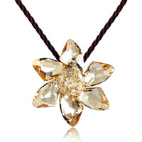 Accessories flower crystal necklace female pendant birthday present for girlfriend gifts