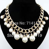 Chain Gold Pearl Chunky Rare Choker Bib Statement Wedding Bridal jewellery Necklace Free shipping
