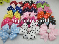50pcs/lot, baby polka dot  ribbon bows WITHCLIP with button Baby Boutique hair bows Hairclips,Girls' hair accessories  hair pins