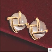 Free Shipping Alloy coil retro opal lady stud earrings ESY-092