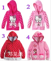 Free Shipping(5pcs/lot) Novely Baby Girls Hello Kitty Hoodies Children's Minnie Mouse Cartons Sweatshirts baby clothes