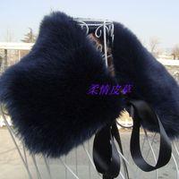 Navy blue fox fur collar faux collar square collar false collar clothing collar