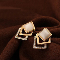 Free Shipping Square opal rhinestone gold-plated earrings ESY-102