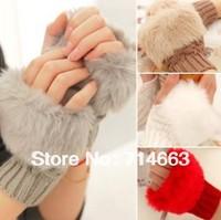 Fashion Winter Arm Warmer Fingerless Gloves , Knitted Fur Trim Gloves Mitten