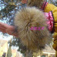 A pair of wool Large cuff raccoon fur cuff hand ring wristiest gloves fur wrist length