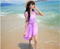 2014 summer tank ultralarge dress solid color chiffon one-piece dress fairy skirt ruffle dress