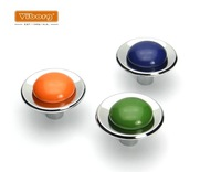 4 Colors/lot  Furniture Hardware Mediterranean Kitchen Drawer Zinc Alloy+PVC Handle Knobs(D: 39mm)