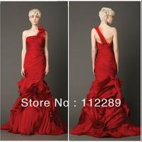 Most Popular Red One Shoulder Mermaid Ruffle Lebanon Designer Wedding Dresses HZ3653