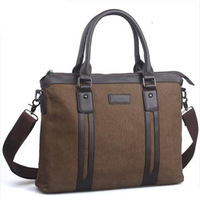 New arrive Canvas  file bag commercial document laptop bag vintage male portable messenger bag Canvas Cow Leather Shoulder Bag
