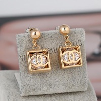 Free shipping!!!Brass Drop Earring,Jewelry Brand, Square, 18K gold plated, with cubic zirconia, nickel, lead & cadmium free