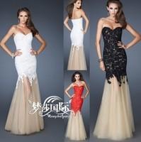 2014 New Fashion Lace Sexy Long Formal Robe de Soiree Vestido de Festa Party Dress Evening Dresses White Black
