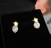 Free shipping!!!Brass Stud Earring,Men Jewelry, Star, 18K gold plated, with cubic zirconia, nickel, lead & cadmium free, 11.5mm