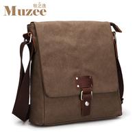 2013 Vintage canvas bag Men's messenger bag One shoulder cross-body bag Notebook  Men's Brown Canvas Messenger Bags