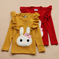 2013 new cotton rabbit long sleeved o neck girls t-shirt kids sweatshirt children clothing free shipping