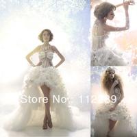 Luxury White Sweetheart Organza Ruffle Front Short And Long Back Wedding Dress HZ3654