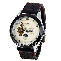 Sample LaoGeShi Men Mechanical Watch Arabic Numbers Hour Marks with Round Dial Rubber Watch gift wristwatches