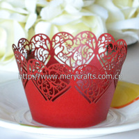 "New product Romantic wedding supplies china ""traditional  heart""  laser cut cupcake wrappers from Mery Crafts"