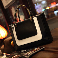 Women's handbag new arrival 2013 vintage shoulder bag preppy style color block motorcycle cross-body messenger bag big bag