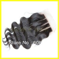 "New Fashion lace closure body wave brazilian virgin hair body wave 8""-20"" natural color in stocking 1pc/lot"